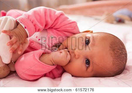 Adorable Little African American Baby Girl Playing With A Plush - Black People