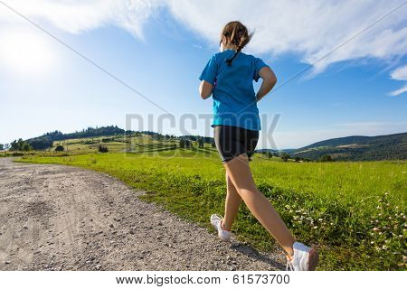 Healthy lifestyle - girl running, jumping