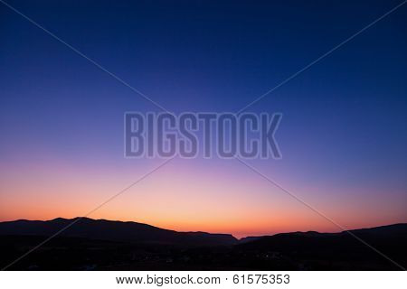Vivid sunset sky over Belbek canyon in Crimea
