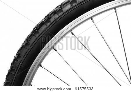 closeup of a bicycle bicycle wheel on a white background