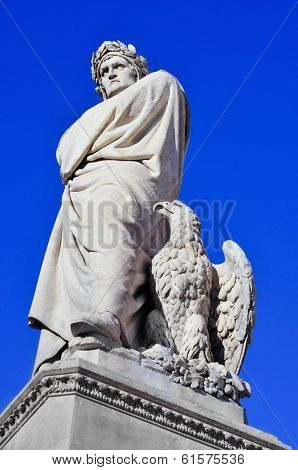 nineteenth century sculpture of Dante Alighieri located in Piazza Santa Croce in Florence, Italy