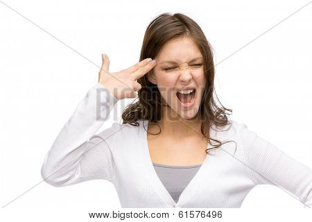 Portrait of girl with closed eyes hand gun gesturing, isolated on white