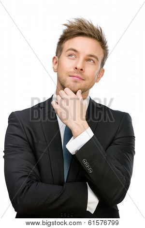 Half-length portrait of pensive executive touching face, isolated on white. Concept of leadership and success
