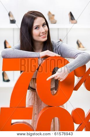 Woman showing the percentage of sales on heeled shoes in the shopping center against the window case with pumps