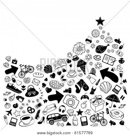 Pile of everything to sell and buy with arrows, hearts and stars, vector funny doodles