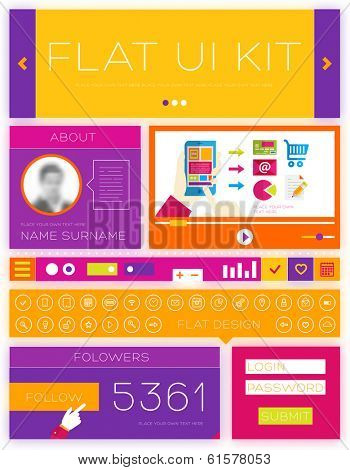 Flat Design Interface Elements Kit. Template for Web Site. Thin Line Icons Set. Video Service, Frames, Login Forms. Buttons, Navigation Items. Infographic Minimalistic Elements for Project Design.