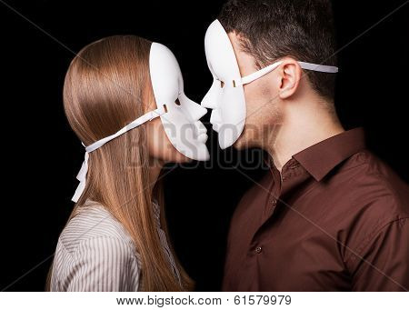 Happy Couple in Love wearing masks