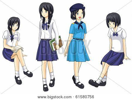 Cute Thai Schoolgirls Collection Set 4