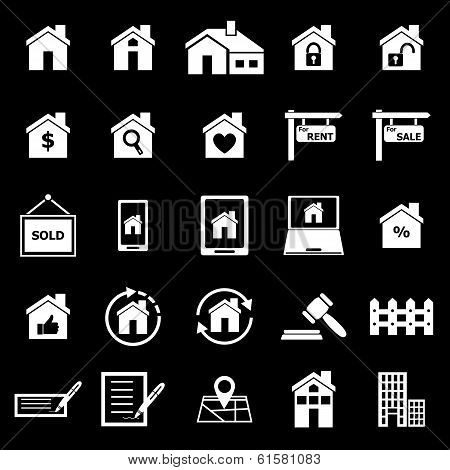 Real Estate Icons On Black Background