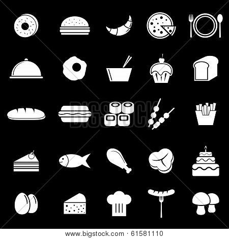 Food Icons On Black Background