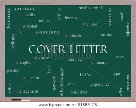 Cover Letter Word Cloud Concept On A Blackboard