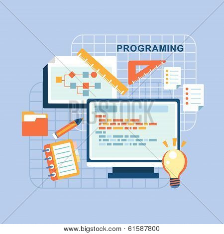 Flat Design Concept Of Programmer Workflow