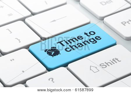 Time concept: Alarm Clock and Time to Change on computer keyboar