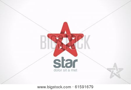 Star five point infinity loop vector logo design template. Looped infinite shape icon.