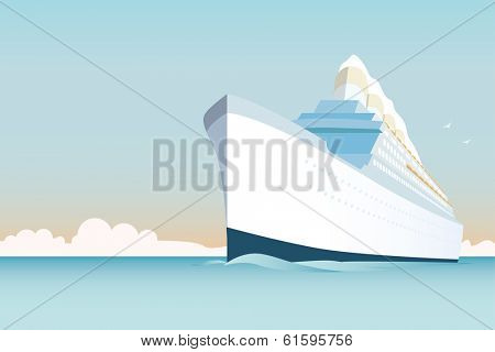 Cruise Ship vector Illustration. Retro styled white cruise ship on the ocean.