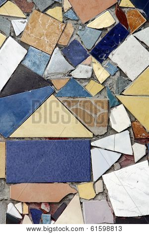 Colored Mosaic with Old Broken Tiles