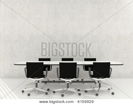 Table and Chairs on blank wall