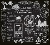 Summer Holidays Chalkboard - Blackboard with summer themed labels, banners, frames and clip art, inc