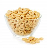 picture of high calorie foods  - healthy cereal rings isolated on white background - JPG