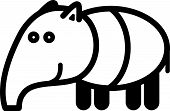 image of tapir  - Cute simple black and white tapir for icon - JPG