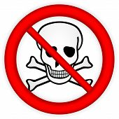 picture of chemical weapon  - No chemical weapons sign on white background - JPG
