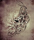 foto of woman dragon  - Sketch of tatto art - JPG