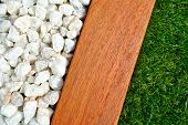image of combinations  - Landscaping combinations of grass timber and stones - JPG