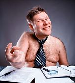 stock photo of pervert  - Freak shirtless businessman - JPG