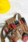 foto of hard_hat  - Electricians Tool Belt - JPG