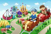 pic of amusement  - A vector illustration of kids having fun in an amusement park - JPG