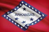 Series Of Ruffled Flags. State Of Arkansas.