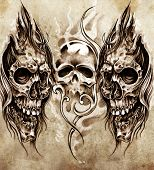 stock photo of art gothic  - Sketch of tattoo art - JPG