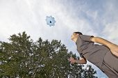 pic of parachute  - Boy playing with parachute toy view from below - JPG
