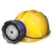 picture of collier  - 3d miner helmet with lamp and battery on white background - JPG
