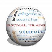 foto of rep  - Personal Trainer 3D sphere Word Cloud Concept with great terms such as fitness exercise aerobic and more - JPG
