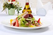 picture of duck breast  - Salad with smoked duck breast close up - JPG