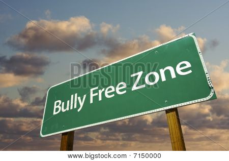 Bully Free Zone Green Road Sign And Clouds