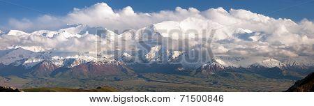 Panoramic View Of Lenin Peak From Alay Range - Kyrgyz Pamir Mountains - Kyrgyzstan And Tajikistan Bo