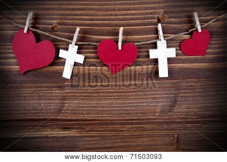 Hearts And Crosses On A Line