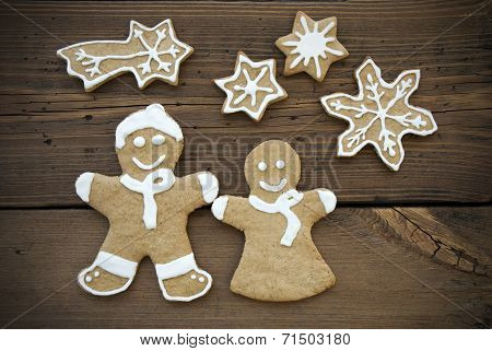 Happy Ginger Bread Couple With Stars