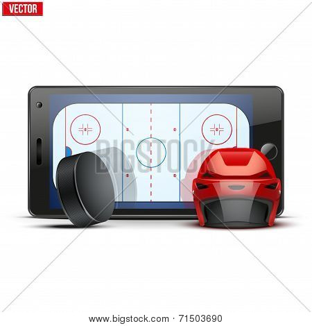 Mobile phone with ice hockey helmet, puck and field on the screen.