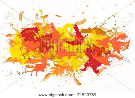 Red and yellow spatters.