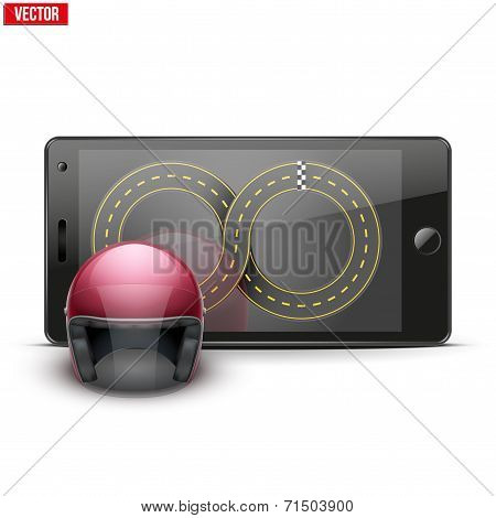 Mobile phone with racing helmet and track on the screen.