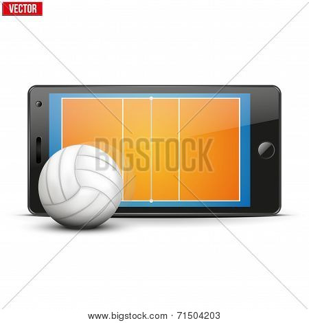 Mobile phone with volleyball ball and field on the screen.