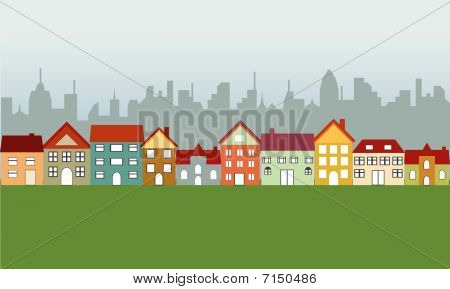 Suburban houses and city