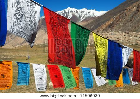 Prayer Flags With Stupas - Himachal Pradesh - India