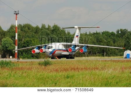 NIZHNY NOVGOROD. RUSSIA. JULY 31, 2014. STRIGINO AIRPORT.The IL-76 plane on parking.