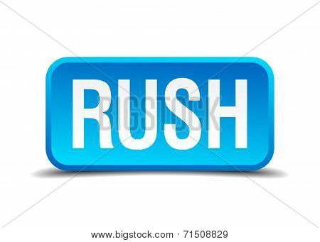 Rush Blue 3D Realistic Square Isolated Button