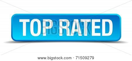Top Rated Blue 3D Realistic Square Isolated Button