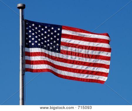 American Flag Flying In Breeze